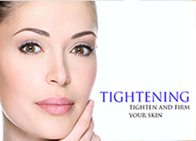 Woman client skin tightening and firming treatment